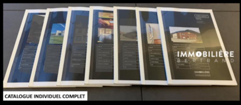 Atypique dans la profession, création d'un CATALOGUE de 80 à 120 pages, pour chaque bien immobilier.